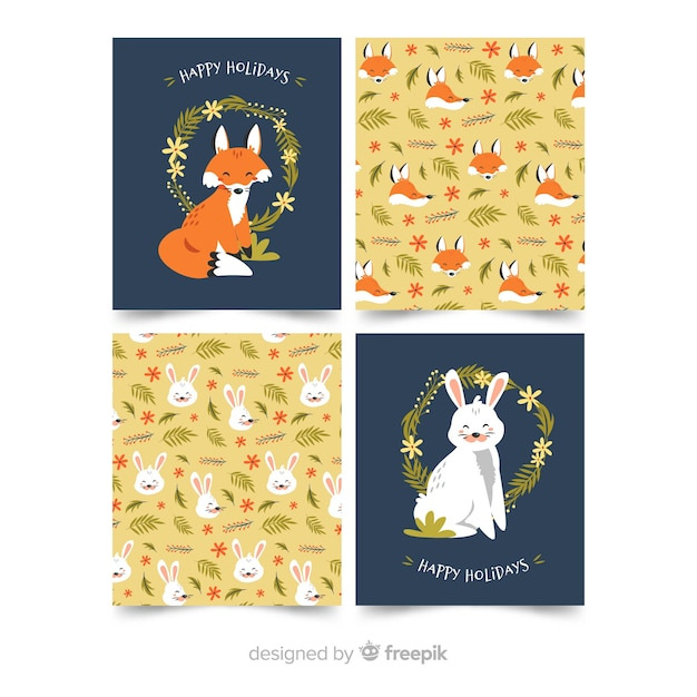 Animals card collection flat design Free Vector