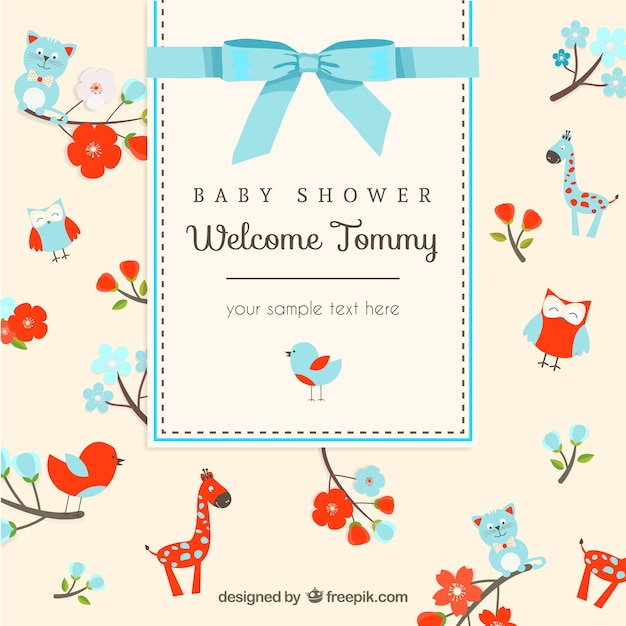 Animals Card For Baby Shower Vector Free Download