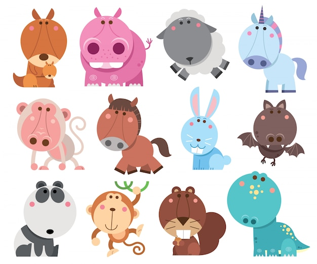 Animals cartoons collection Premium Vector