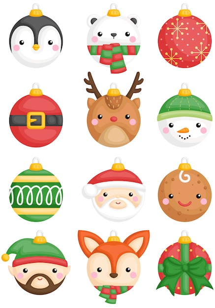 Animals and character christmas balls Premium Vector