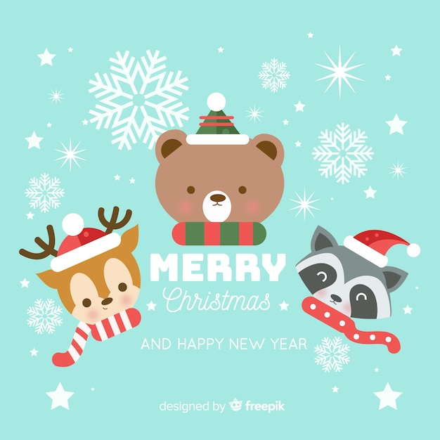 Animals in christmas Free Vector