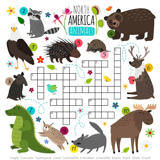 Animals crossword. kids words brainteaser with north america animal set, word searching puzzle game Premium Vector