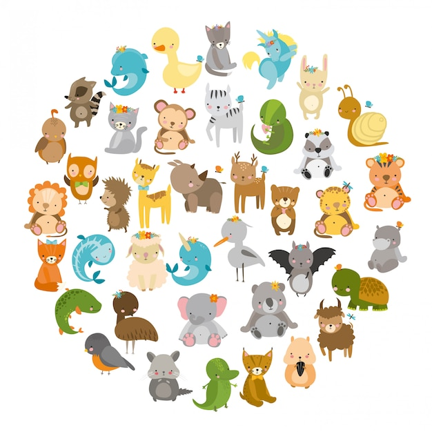 Animals, cute zoo Free Vector