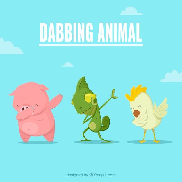 Animals doing dabbing movement Free Vector