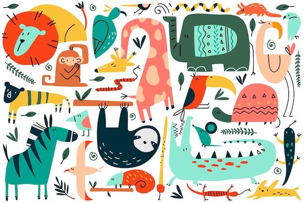동물 낙서 세트. 재미있는 다채로운 만화 캐릭터 귀여운 야생 아프리카 사파리 포유류의 컬렉션입니다. 스칸디나비아 스타일의 아이들을위한 표범 사자 뱀 원숭이 얼룩말 기린 코끼리의 그림. 프리미엄 벡터