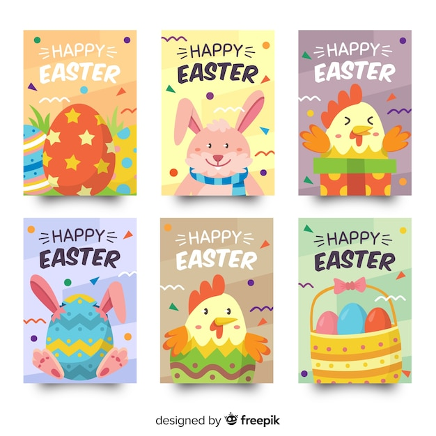 Animals easter card collection Free Vector