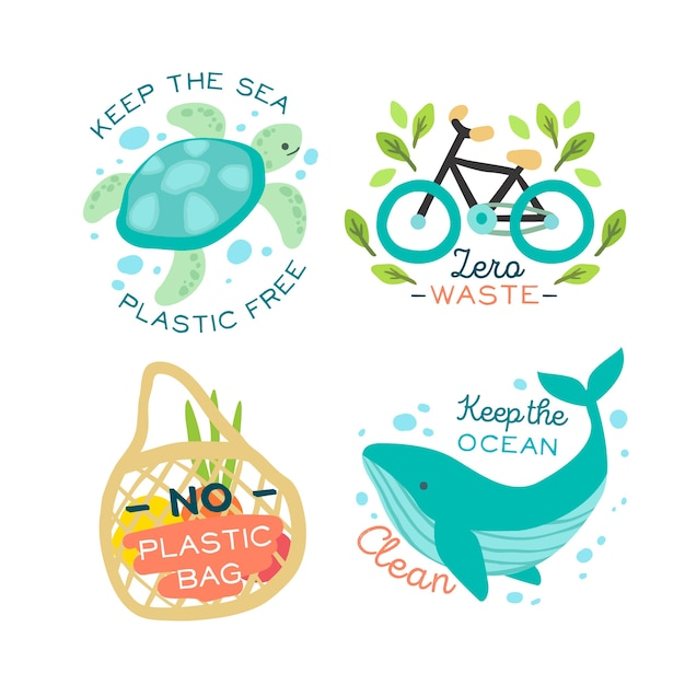 Animals and ecologic objects badge Free Vector