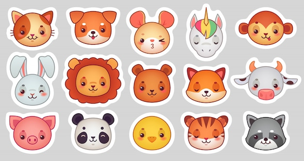Animals face stickers Premium Vector