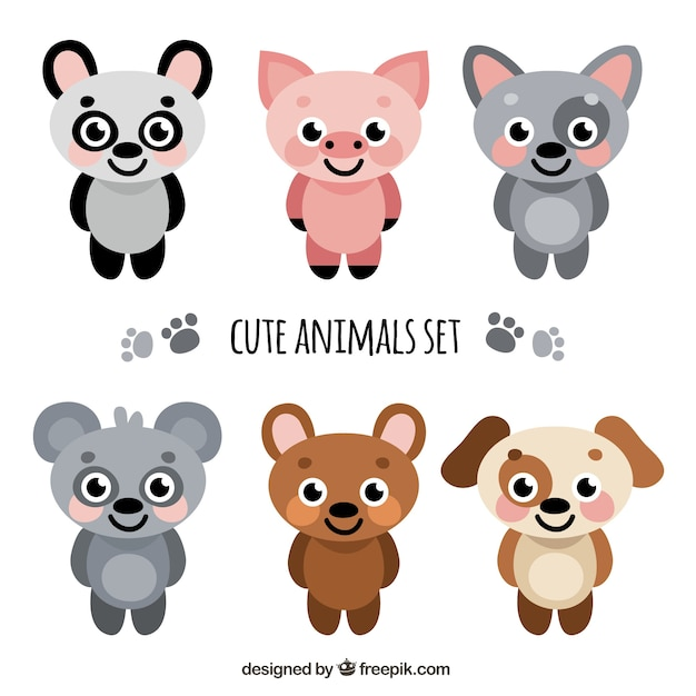 Animals faces Premium Vector