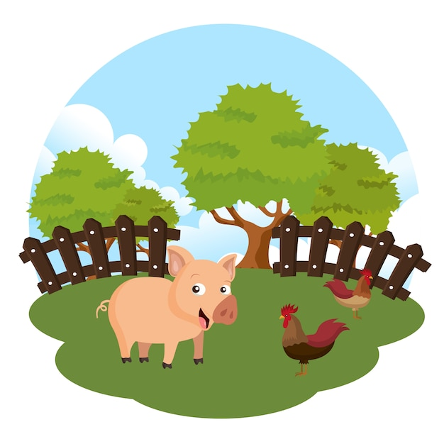 Animals in the farm scene Premium Vector