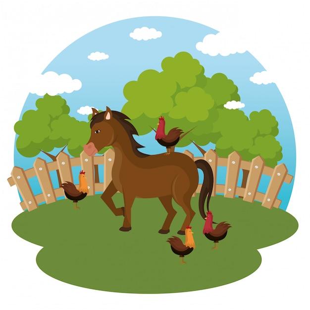 Animals in the farm scene Free Vector