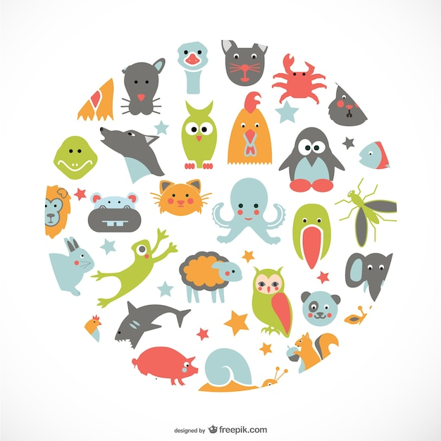 Animals flat icons design vector free download Blueprint designer free