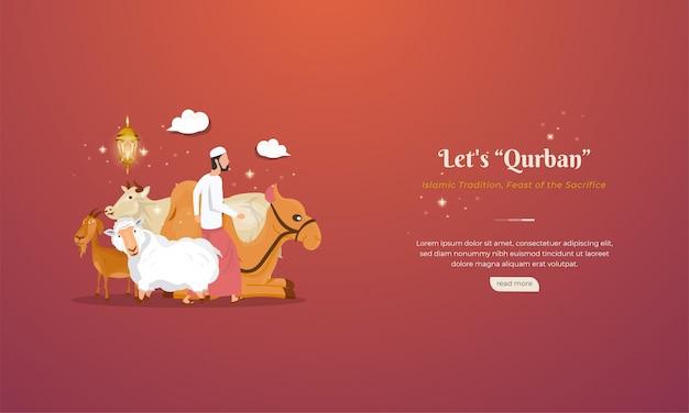 イードアルアドハのイスラムの祝日を祝うために、クルバンのための動物やごちそうを犠牲にする Premiumベクター