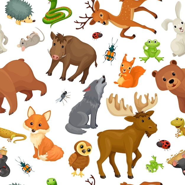 Animals of forest. seamless pattern. Free Vector