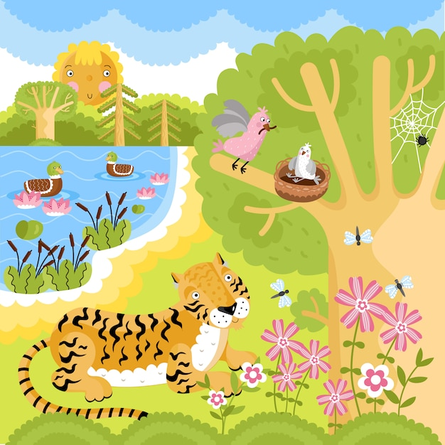 Animals on the forest. Premium Vector