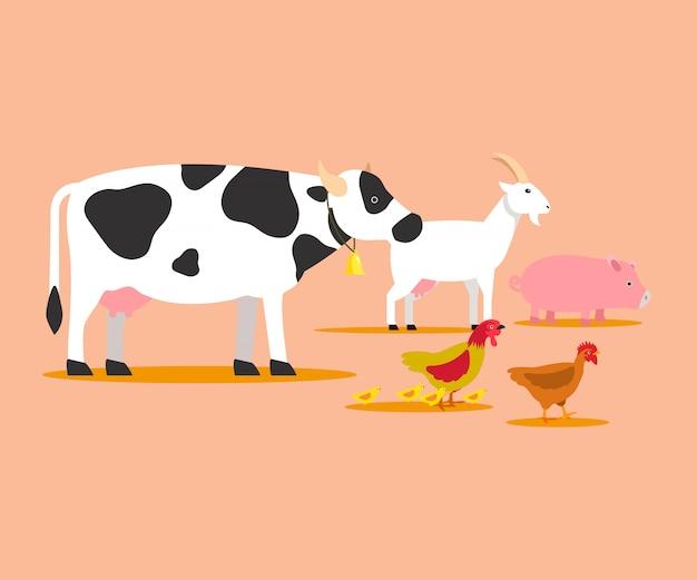 Animals husbandry cartoon vector characters Premium Vector