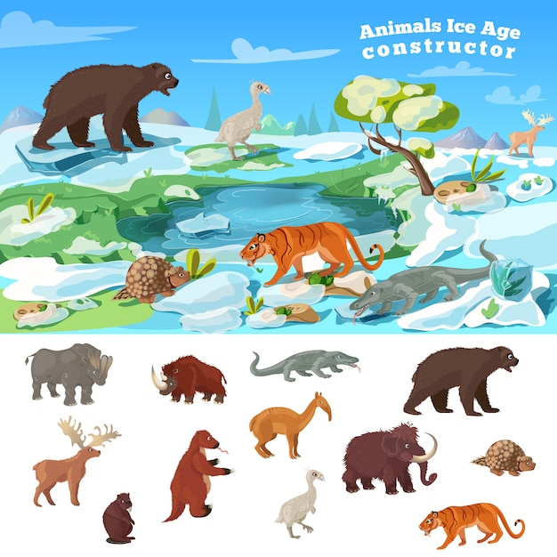 動物の氷河期の概念 無料ベクター