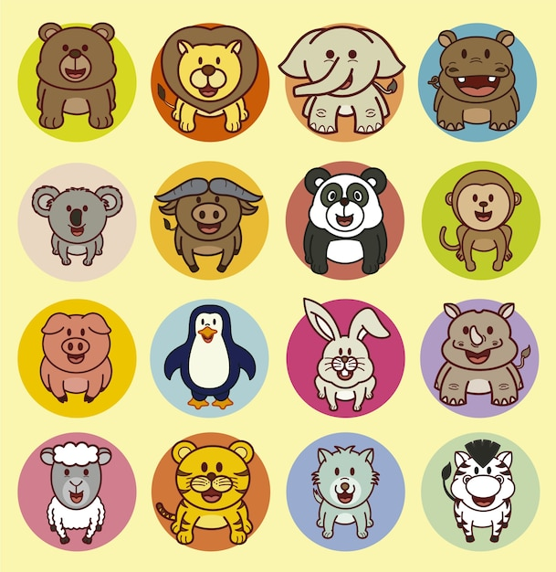 Animals Icon Collection Vector