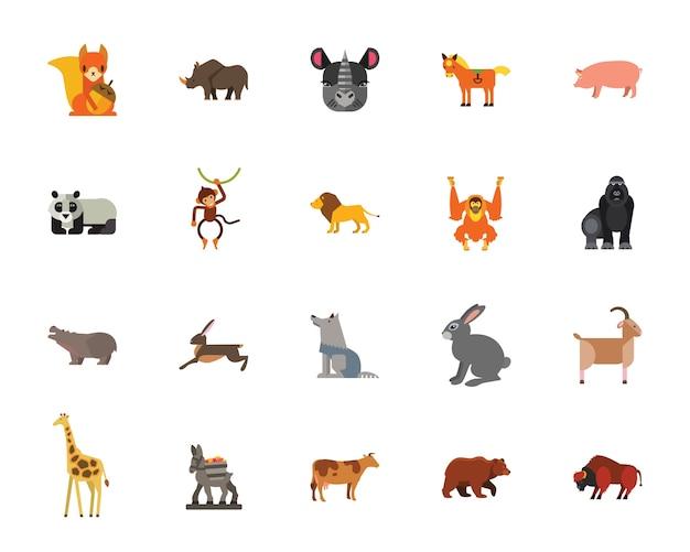 Set di icone di animali Vettore gratuito