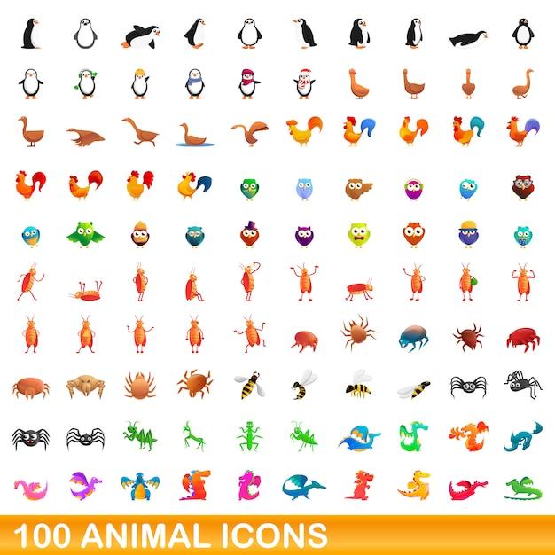 Animals icons set, cartoon style Premium Vector