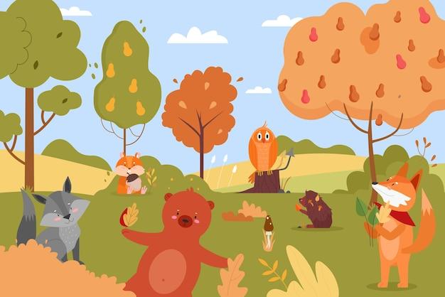 秋の自然の動物、森の中で幸せな野生動物のキャラクターを漫画 Premiumベクター