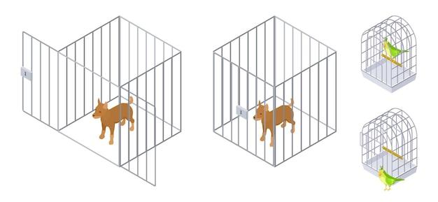 Животные в клетках. изометрические собака птица внутри и снаружи клетки. уход за домашними животными векторные иллюстрации. клетка для домашних животных, безопасность домашних щенков Premium векторы