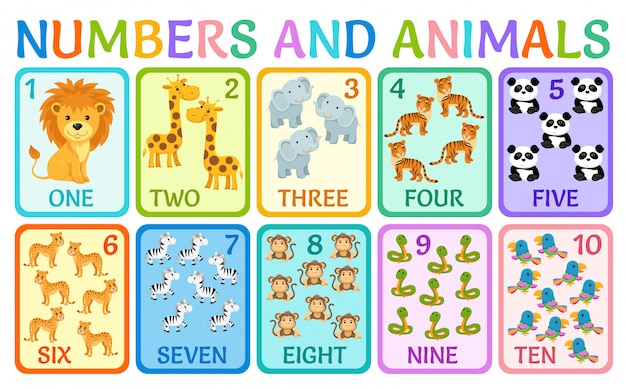 Animals of the jungle. cards numbers for kids. Premium Vector
