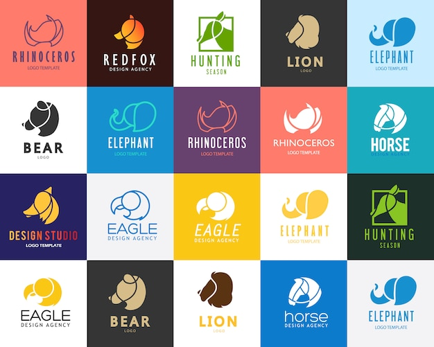 Animals logo set. Free Vector