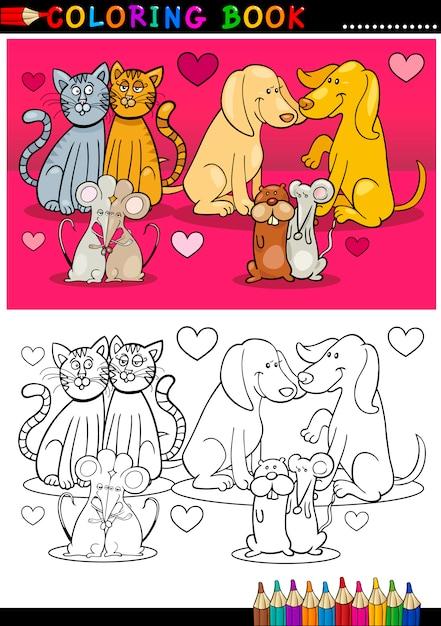 Animals in love cartoon for coloring book Premium Vector