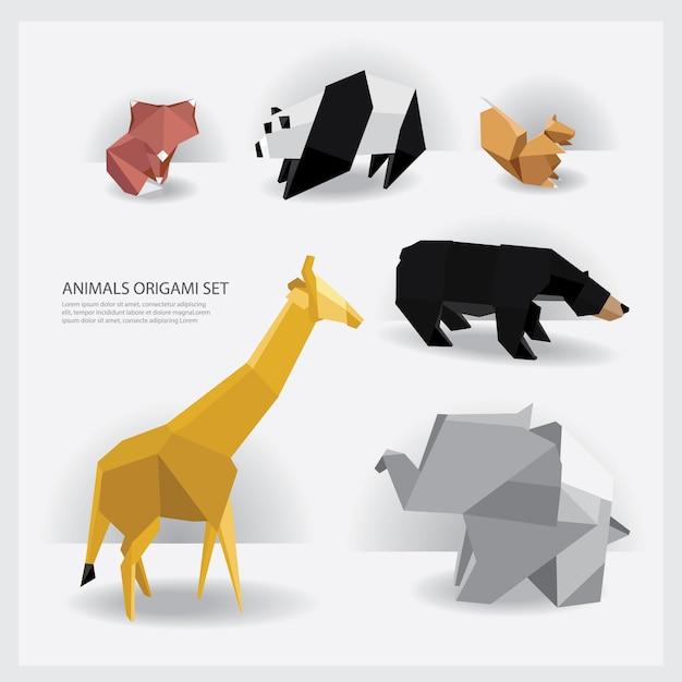 Animals origami set vector illustration Premium Vector