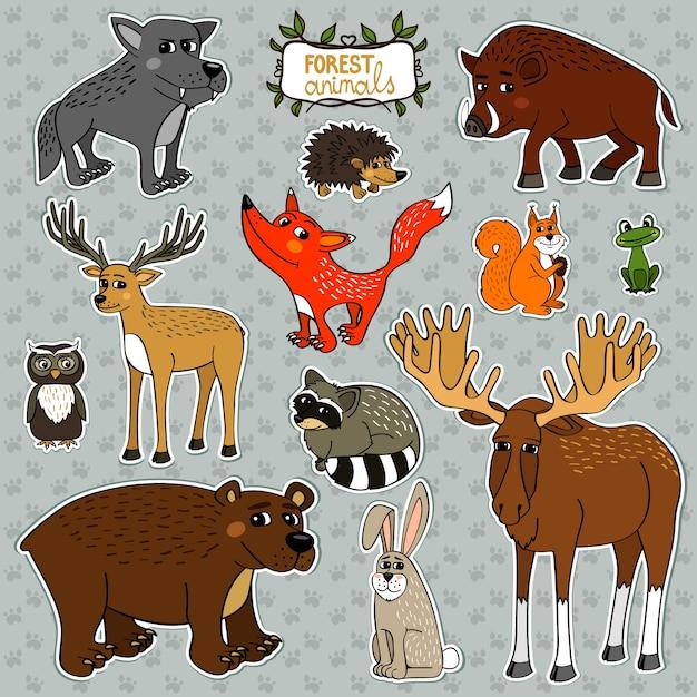 Animals owl deer fox Free Vector