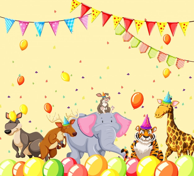 Animals in party scene Free Vector