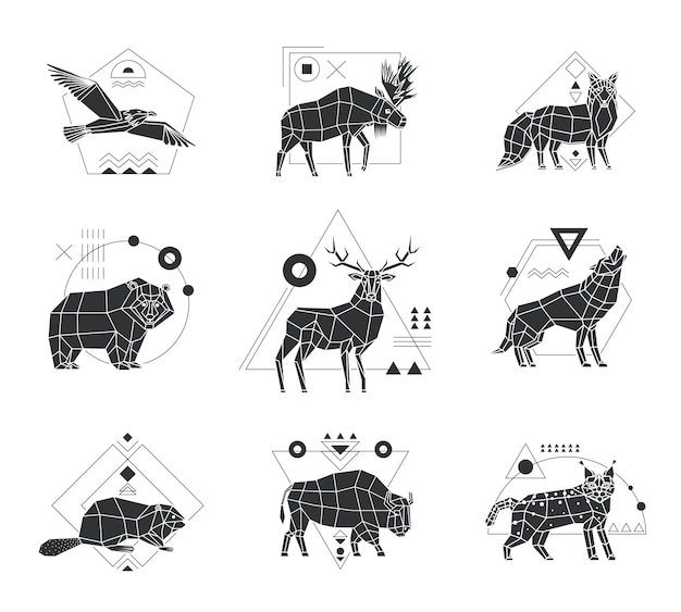 Animals polygonal monochrome emblems Premium Vector