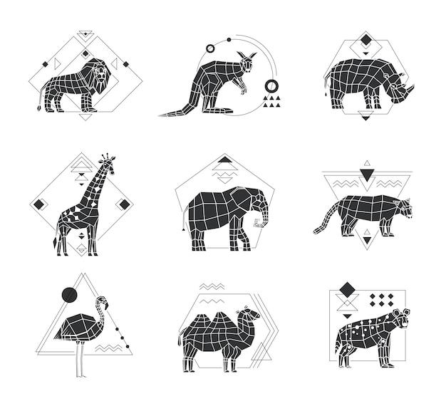 Animals polygonal monochrome emblems Premium Vector
