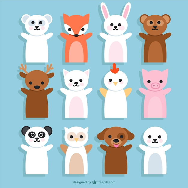 Animals puppets cartoons Free Vector