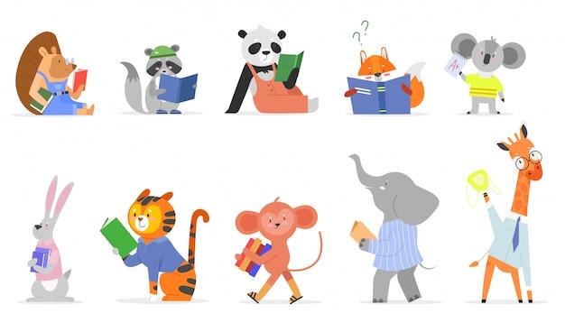 Animals read, study vector illustration set. cartoon flat smart animal kid studying, forest or zoo c
