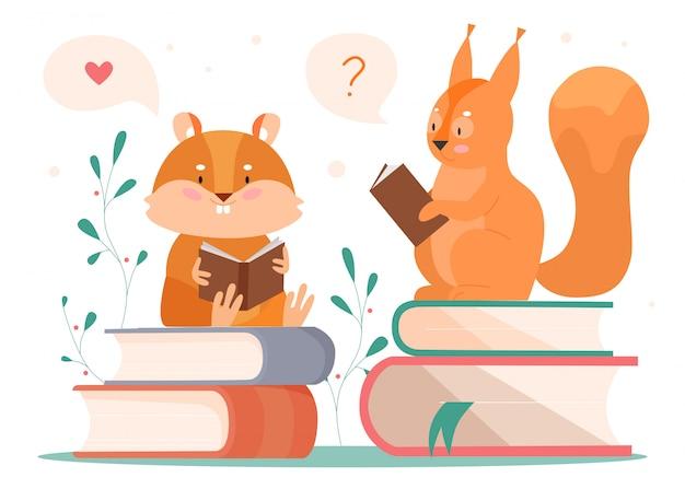 動物のイラストを読みます。漫画の賢いビーバーとリスの本の読者のキャラクターが本のスタックの上に座って、童話を読んで、考えて、白の動物の概念 Premiumベクター