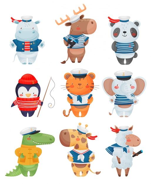 動物の船員の漫画のスタイルの文字。かわいい面白い小さな船乗りのイラストのセットです。 Premiumベクター