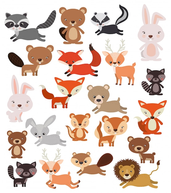 Animals set in flat style Free Vector