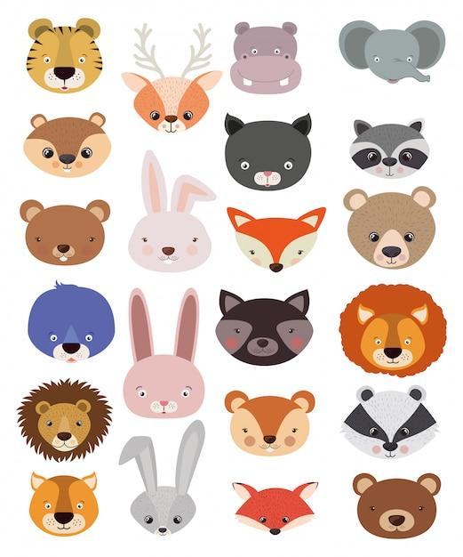 Набор животных в плоском стиле Бесплатные векторы