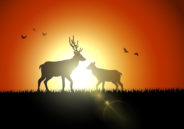 Animals silhouette in sunset at savanah Premium Vector
