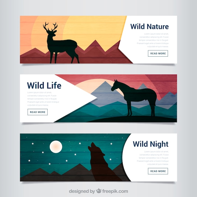 Animals silhouettes in landscapes\ banners