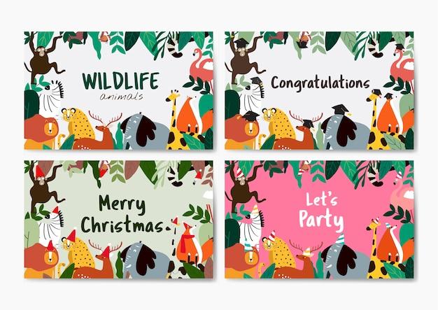 Animals theme card template collection vector Free Vector