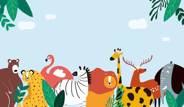 Animals theme template illustration Free Vector