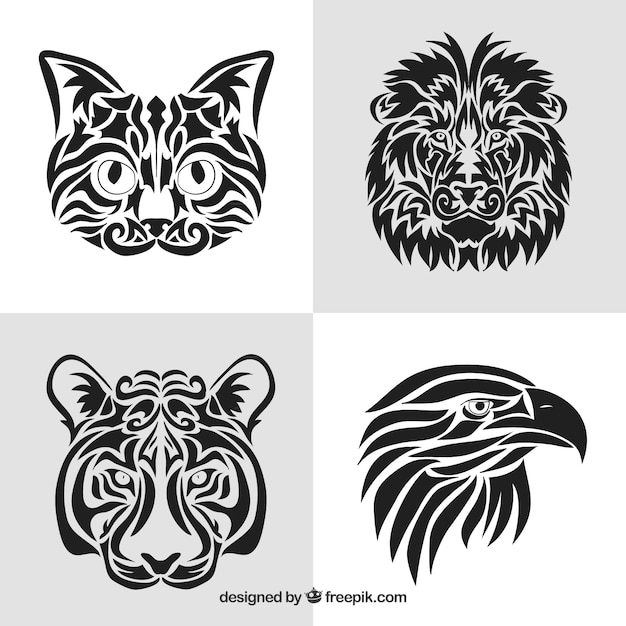 Tattoo Designs Vector Free Download: Animals Tribal Tattoo Collection Vector