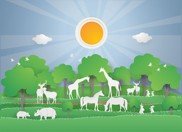 Animals wildlife in the green forest on spring season Premium Vector