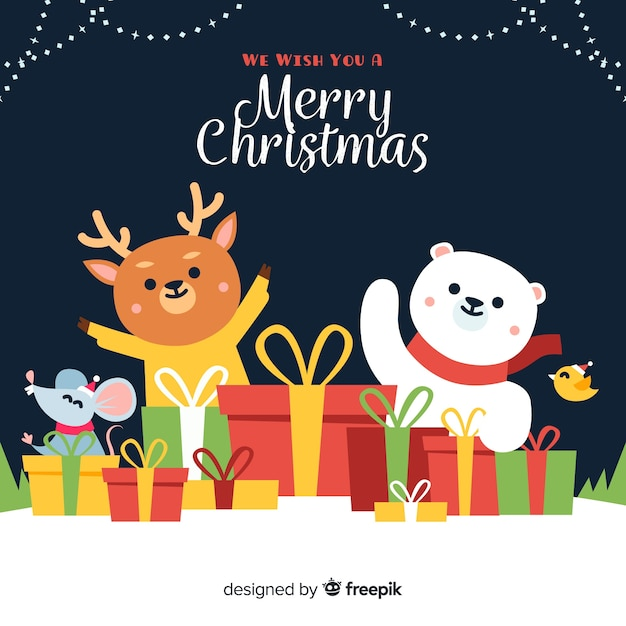 Animals with gifts christmas background Free Vector