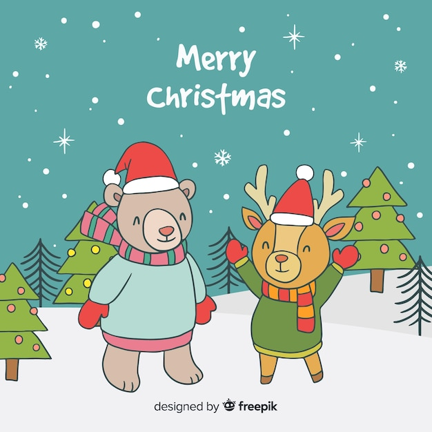 Animals with santa hat christmas background Free Vector