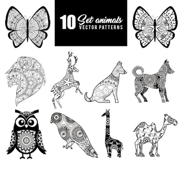 Animals with skin boho style Premium Vector