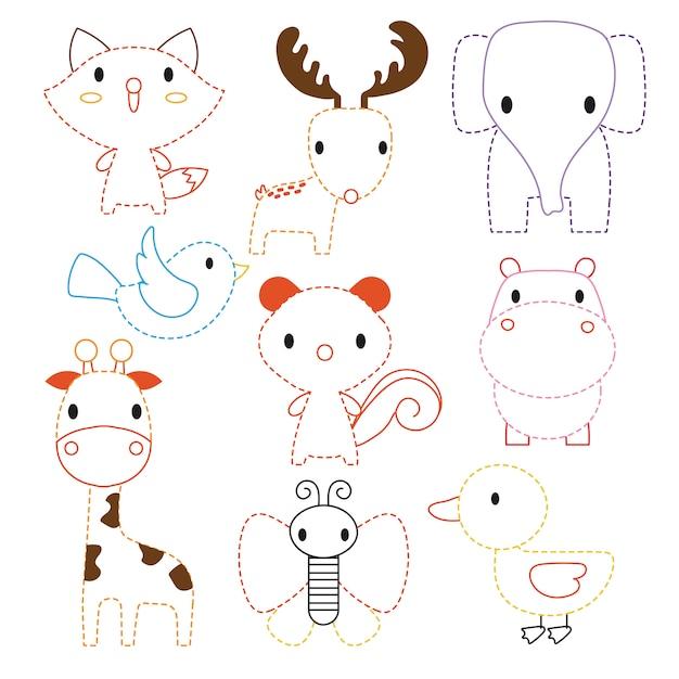Animals worksheet vector design Premium Vector